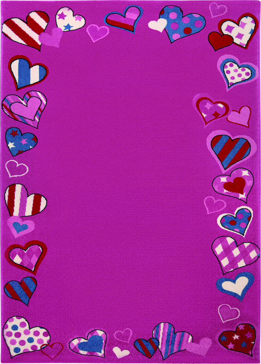 Covor Copii & Tineret Just Hearts, Mov, 120x170